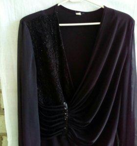 Блузка черная с шифоновыми рукавами