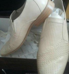 Ботинки мужские бежевые кож