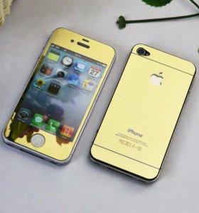 Защитные цветные стекла на iPhone 4/4s
