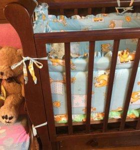 Кроватка детская Лаванда маятник продольный с ящик
