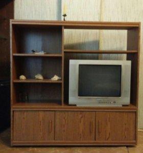 Тумба с полками и ящиками под телевизор.