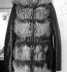 Кожаная куртка мех чернобурка