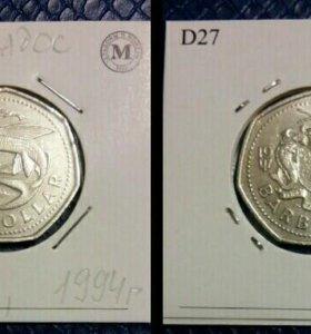 Монета 1 доллар, Барбадос, 1994 год