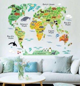 "Стикер на стену ""Карта мира"""