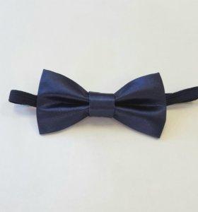 Детская темно-синяя атласная бабочка-галстук