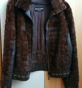 Кожанная куртка с мехом норки