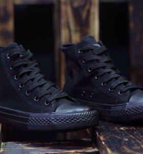 Converse, black, высокий