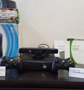 Xbox 360 slim + кинект + 2 джойстика LT 3.0