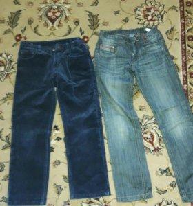 Вельветовые штаны синие и джинсы