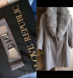 Пальто женское Love Republic+пояс