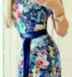 Платье Цветы ГОЛУБОЕ