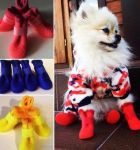 """🐶🎀 Резиновые сапоги на плюше для собак""""Ассорти"""""""