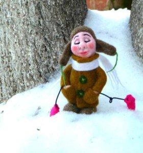 Валяная интерьерная игрушка Зимний Ангел