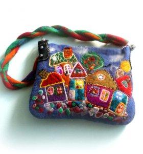 женская валяная сумка Пряничный городок