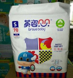 Подгузники япония «Брав беби» $ (3-6кг) 70 шт