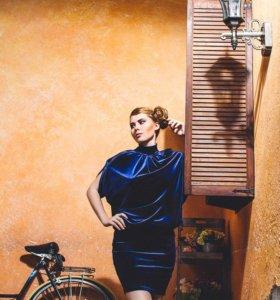 Бархатное синее платье - возможен обмен