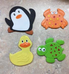 Миниковрики для ванны детские игрушки на присосках