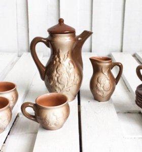 Глиняный кофейный сервиз