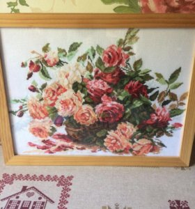 Картина ручной работы. Вышивка крестом Розы