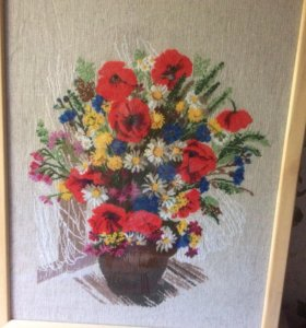 Картина ручной работы. Вышивка крестом Маки