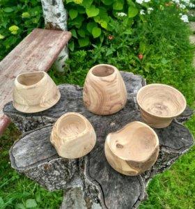 Большие вазы из красивой древесины ручной работы