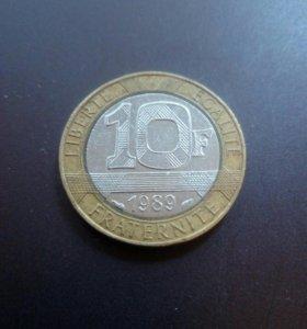 Монета Франция 10 1989 год