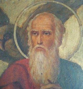 Икона 19 век Иоанн Богослов письмо на металле.