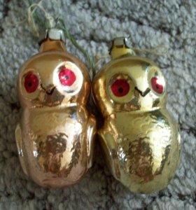 Игрушки ёлочные (стекло) - совы
