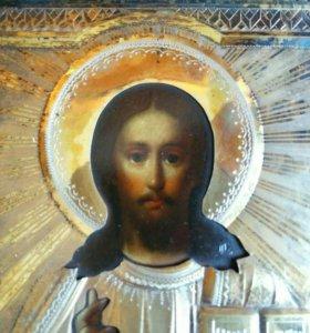 Икона 19 век Господь Вседержитель оклад серебро.