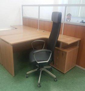 Офисная мебель,стол,тумба,перегородка,кресло,шкаф