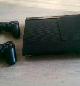 Sony PS3 Super Slim 500гб, 2 джойстика