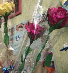 Розы и букеты из конфет,орхидеи