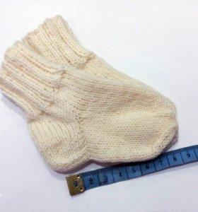 Носочки теплые вязаные для новорожденного