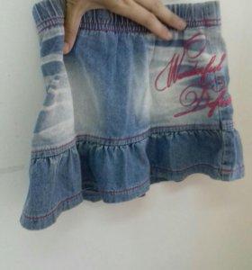 Джинсовая юбочка на 4-5 лет