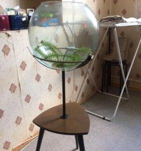 Круглый аквариум на подставке