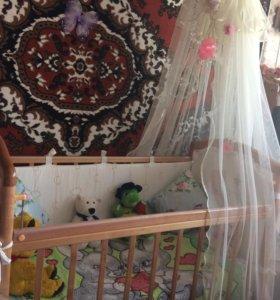 Кроватка детская с матрасом,балдахин,бортики