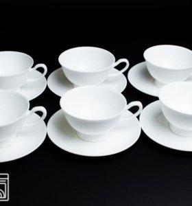 Новый! Набор чайных пар 200мл Белый