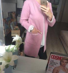 кардиган москино розовый машинная вязка