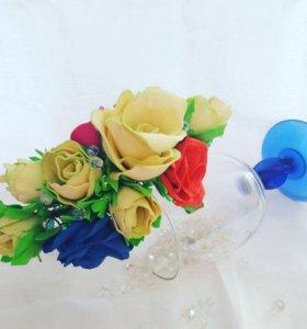 Ободок с цветами из фоамирана.