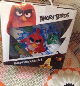 Набор посуды Angry birds новый