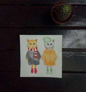 Открытка ручной работы с котиками