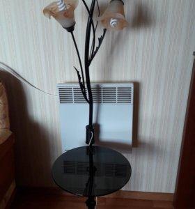 Торшер со стеклянным столиком