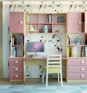 Детская стенка Радуга розовая