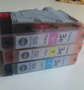 Картриджи цветные Canon BCI-3eY, BCI-3eM, BCI-3eC.