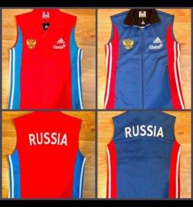 Жилетки Adidas 2 вида,красные и синие Сб.России