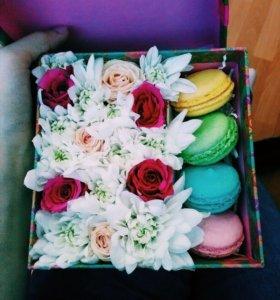 ❤️Коробочки с цветами и макарунами❤️
