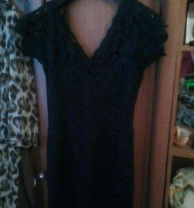 Платье тёмно синие кружевное на 44.46...500р