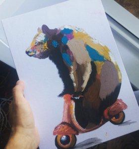 """картина """"медведь на скутере"""""""