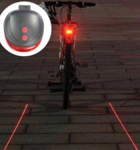 Велофонарь с лазерной подсветкой (новый)