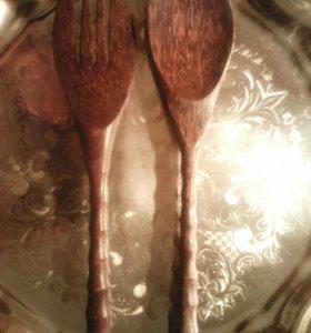 Кокосовые ложка и вилка 31 см.новые